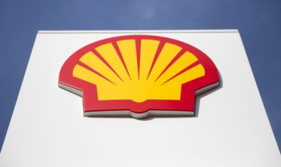 Shell Logo against blue sky