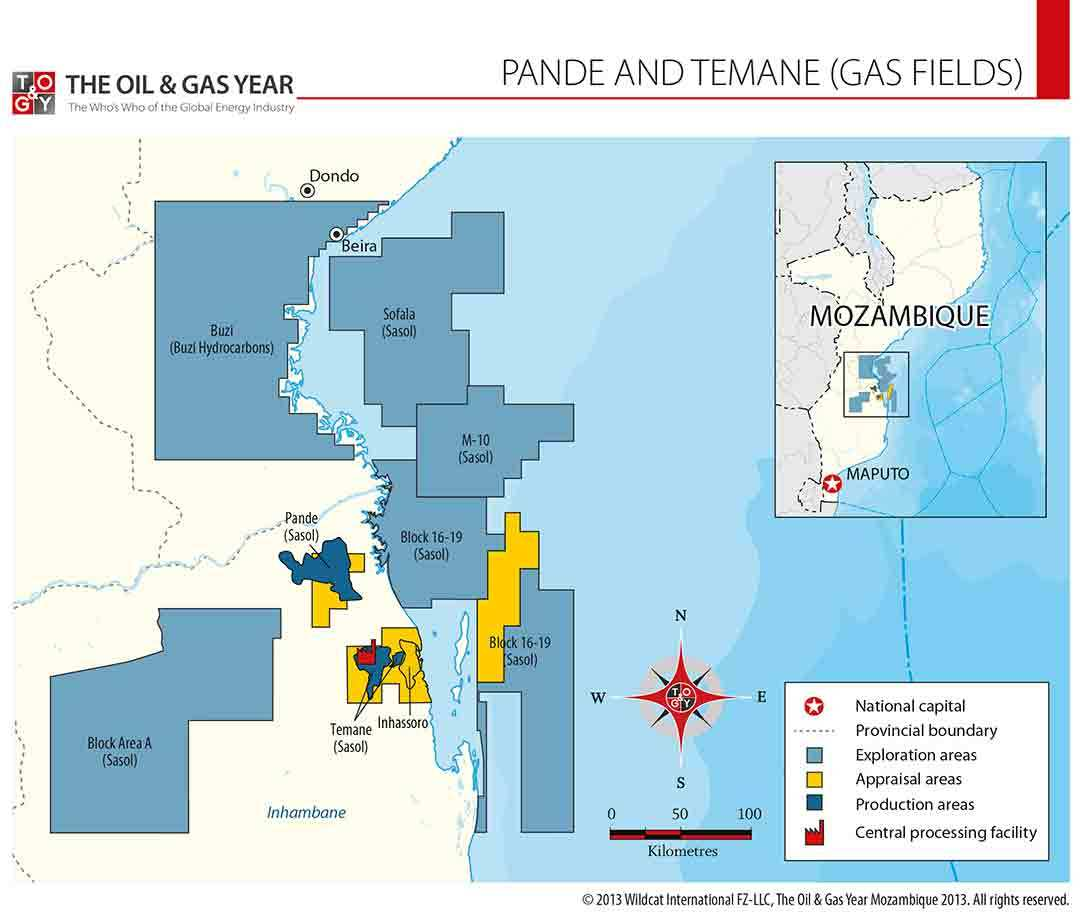 Pande and Temane Gas Fields Map