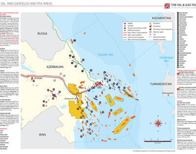 Oil- and Gasfields and PSA Areas Azerbaijan Map