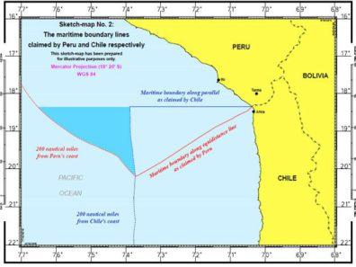ICJ Map of Peru-Chile Maritime Border Dispute