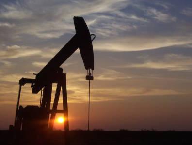 Oilfield at sunset