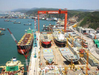 Manufacturing facilities of Hyundai Heavy Industries in Ulsan, South Korea